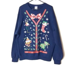 Blue Holiday Ugly  Christmas Sweater
